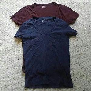 Lot of 2 Madewell V-Neck T-Shirt Blue  Burgundy SM